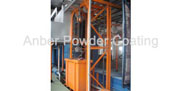 Fluidized bed fence coating line