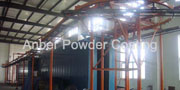 Fence mesh fluidized bed coating line