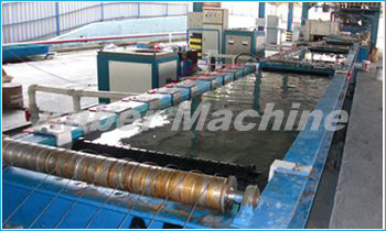 wire feed in the zinc pool of the wire galvanizing line
