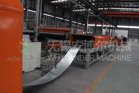 Rib lath production line with lath collector